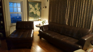 Genuine leather couch and lounge
