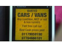 Cars and vans wanted any condition
