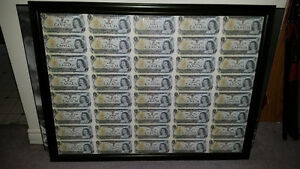 Framed uncut sheet of 1973 $1 bills in excellent condition!!!!!!