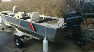 17 foot aluminum boat with 25 HP motor and trailer