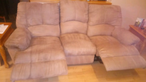 Sued Double Reclining Sofa
