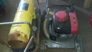 JD Mixed Fuel Heater & Commercial Honda Lawnmower