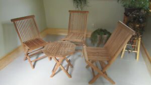 teak chairs and table set