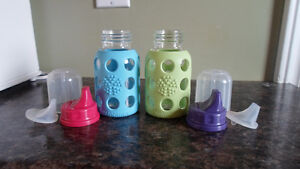 2- Life Factory 4oz baby bottles w/ sippy covers