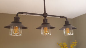 Industrial Ceiling Light with vintage bulbs