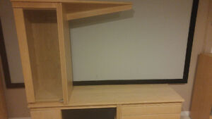 3 pce maple wood tv and entertainment stand i