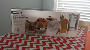 BRAND NEW 13 piece glass hor d'oeuvres set - $10