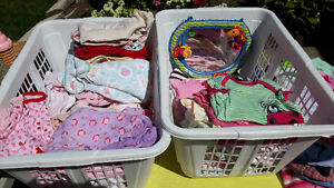 Lot of baby girl clothes, sleepers, onesies, bibs, shoes, tub...