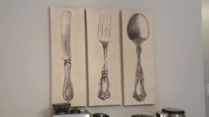 3 peice kitchen/ dining room wall art