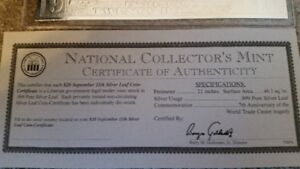 NATIONAL COLLECTOR'S MINT $20 SEPTEMBER 11 SILVER LEAF
