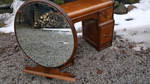 """Antique Dressing/""""Vanity"""" Table and Mirro"""