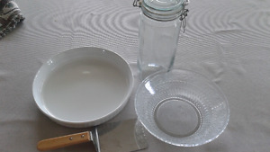 Glass Bowl, Corning Ware Dish, Spatula, Glass Container