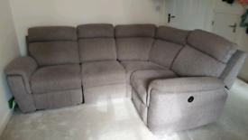 Motorised reclining corner sofa - Grey