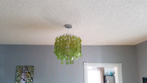 Green glass and silver base chandelier for sale