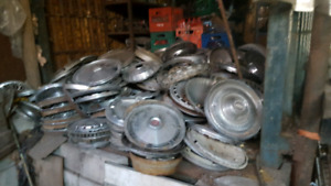 Collection of antique wheelcovers caps hub caps