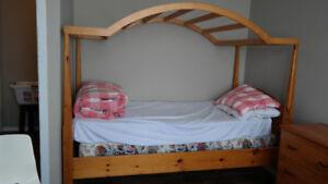 Bed, dresser and desk