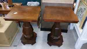 Pair of rosewood empire style pedestal side tables