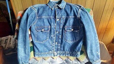 Vintage Original 50's LEVIS Big E Type ll Selvedge Indigo  Denim Pleated Jacket