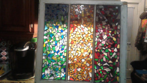 Cheerful Colorful Smashed Stained Glass Window Home Decor Accent