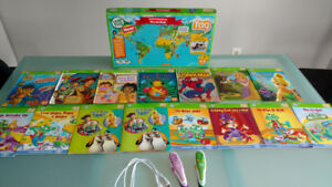Leapfrog Tag Pen Reading Systems + books and world map