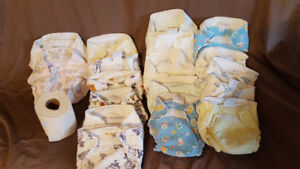 16 Cloth Diapers and 2 Diaper Covers