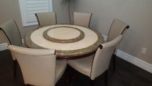 Granite Top Dining Table and 6 Chairs