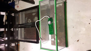 3 Cage/terrariums with lights and timed outlet cord