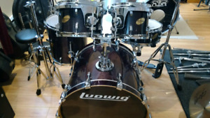 Drum batterie ludwig avec 3 cymbales pedales stand wow