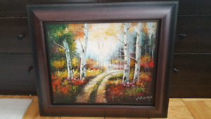 for sale signed canvas oil paint in a frame.
