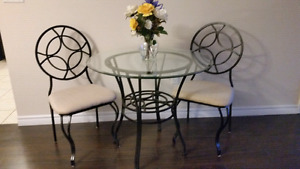 36 inch glass table and 2 chairs