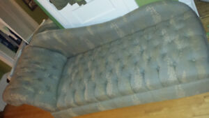 """Lounge couch - blue brocade, 84"""", one leg broken, $60 as is"""