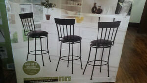 3 pack decorative metal adjustable stools