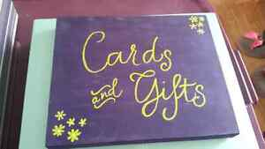 Cards and gifts sign for the table