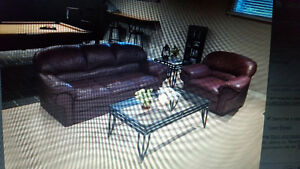 Won't Last Long ! Beautiful Real Leather Couch & Chair