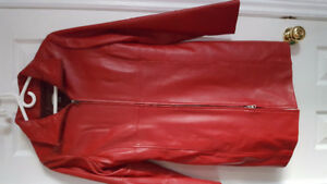 Danier Red Leather Duster Coat