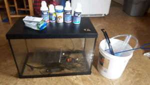 20 gallon fish tank with supplies