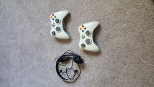 Two Xbox 360 controllers plus Headset