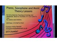 Saxophone, piano, flute and music theory tuition