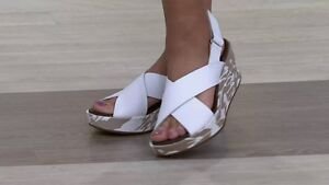 LIKE NEW - LADIES WHITE LEATHER SANDALS BY CLARKS - $80