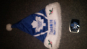 Maple leafs belt buckle and santa hat
