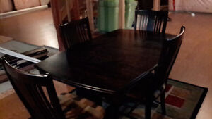Solid Maple dining table and chairs , buffet server  , 6 places