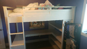 POTTERY BARN LOFT BED WITH DESK AND SEARS VANITY DRESSER