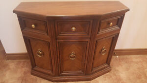 Antique 3 Sided End Table, Buffet Table