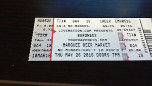1 Baroness Concert Ticket $20 Marquee May 26
