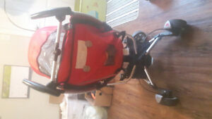 Quinny red and black used stroller