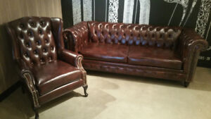 CUSTOM MADE TUFTED CHESTERFIELD COUCH WING CHAIR