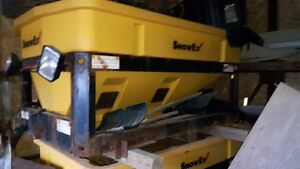 CURTIS 9FT SNOW PLOW AND 6FT SNOWEX POLY SALTER