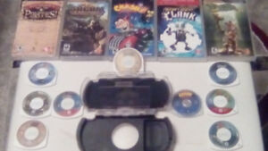 PSP Protective case with plastic screen protector + 9 games
