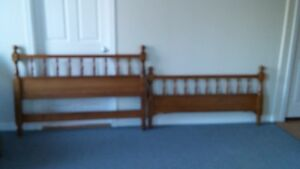Beautifully Turned Maple Headboard and Footboard w/Rails