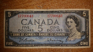 1954 5$ BILL IN GREAT CONDITION FOR THE YEAR only 17$........... London Ontario image 1